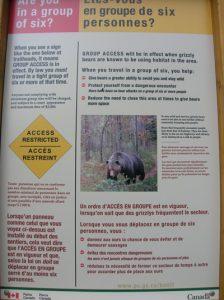 Cartel de aviso de osos.